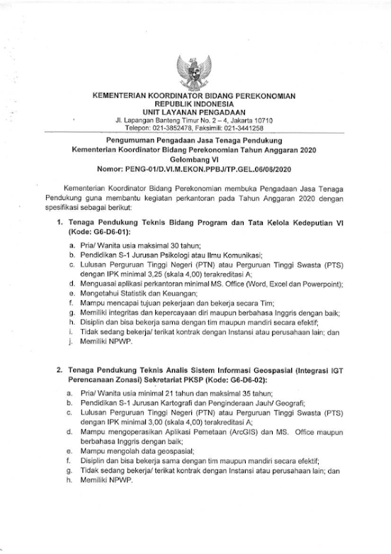Lowongan Kerja Terbaru Kementrian Perekonomian Tahun 2020 1