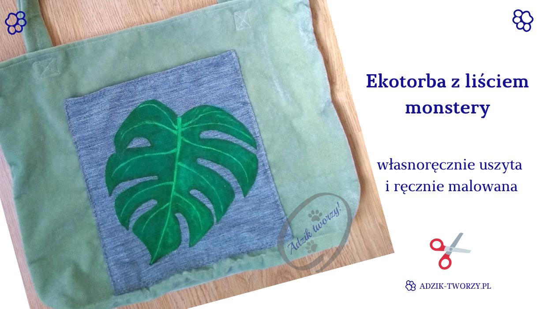 Ręcznie malowana ekotorba z liściem monstery