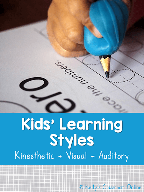 Descriptions of three learning styles among children: visual learners, auditory learners, kinesthetic and tactile learners. Preschool to third grade. #kellysclassroomonline