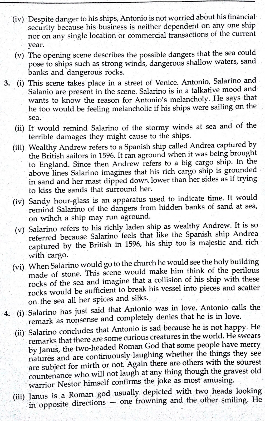 Workbook Answers/Solutions of The Merchant of Venice, Act 1 Scene 1