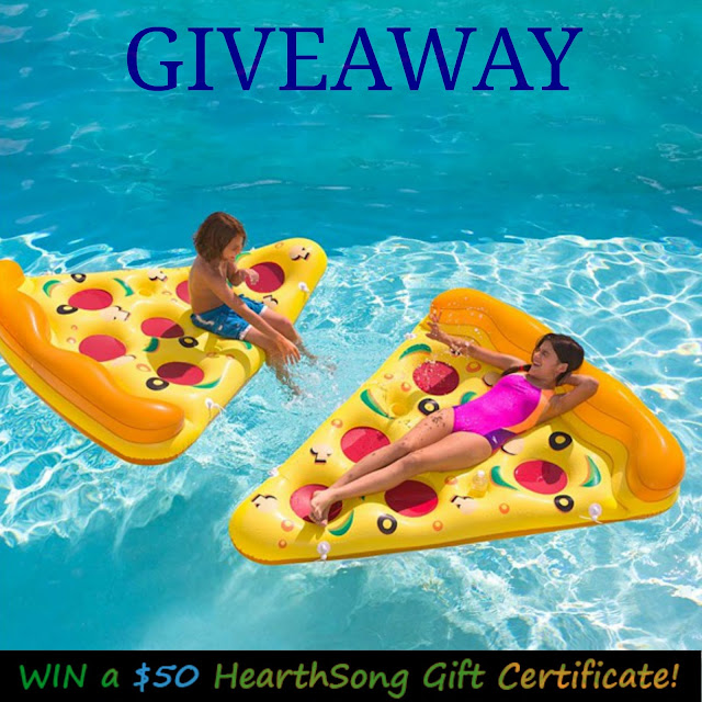 free gift card offer, hearthsong giveaway, kids outdoor toys, inflatable pizza slice, fun pool toys, fun outdoor toys, free summer activities