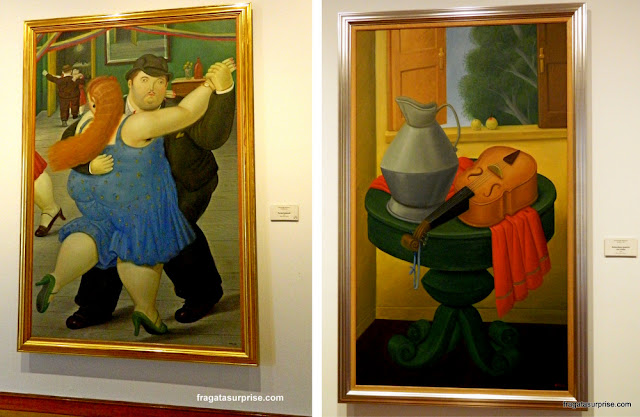 """Obras de Fernando Botero: """"Casal Dançando"""" e """"Natureza Morta com Violino"""", Museu Botero, Bogotá"""