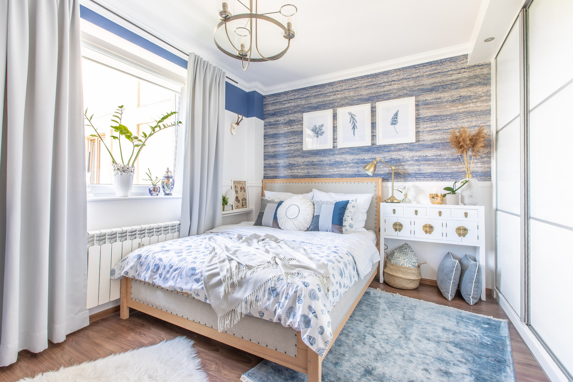 sypialnia w stylu Hamptons