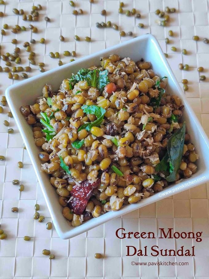 Pachai payaru sundal recipe | green gram sundal recipe | green moong dal sundal