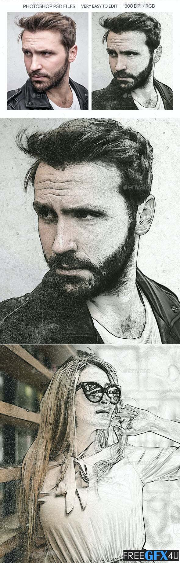 Pencil Drawing Photo Effect PSD Template