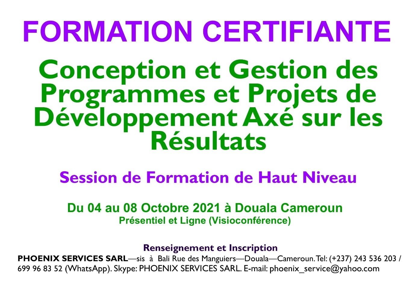 Formation Certifiante en Conception et Gestion des Programmes et Projets de Développement Axés sur les résultats