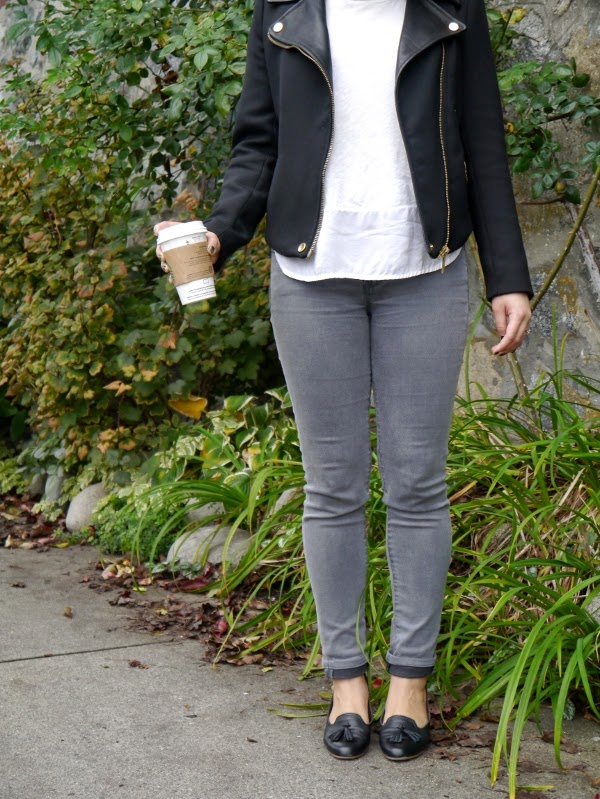 Black moto jacket, skinny grey denim, black tassel loafers, basic white tee