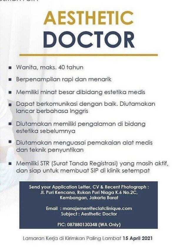 Loker Dokter (Aesthetic Doctor) Eclat Clinique Jakarta Barat