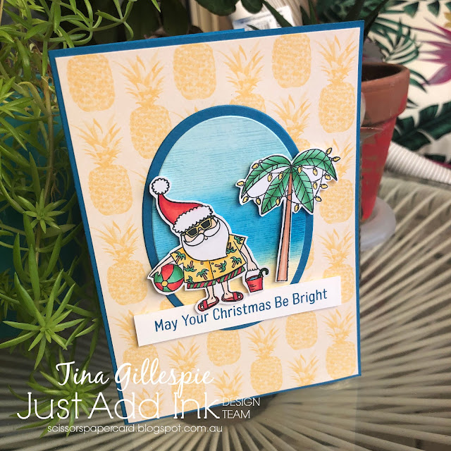 scissorspapercard, Stampin' Up!, My Favorite Things, Just Add Ink, Sun-Lovin' Santa, Tropical Oasis DSP, Copic Markers, Subtle 3DEF