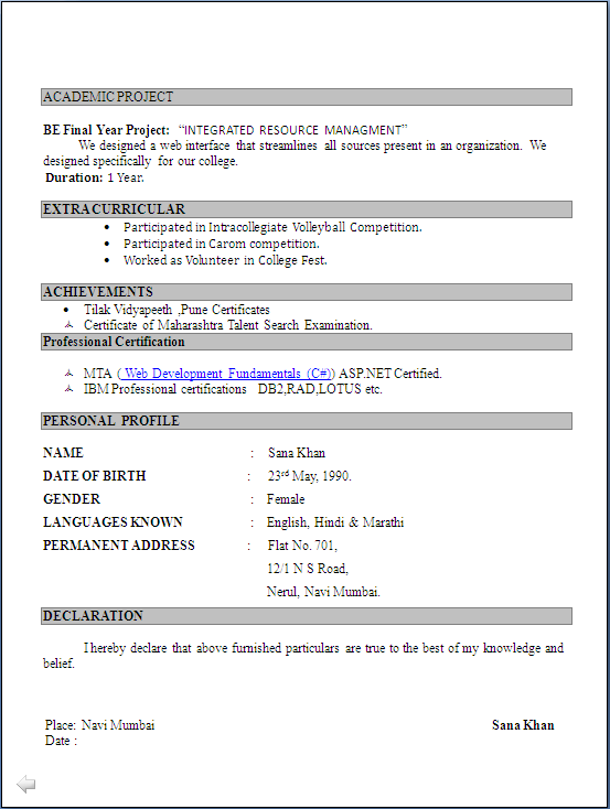 resume for freshers bsc computer science abgc