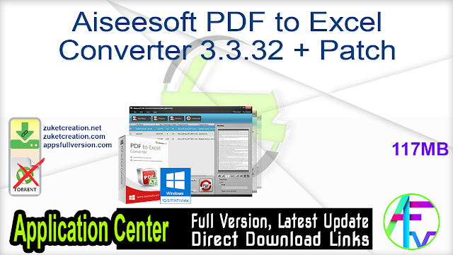 Aiseesoft PDF to Excel Converter 3.3.32 + Patch