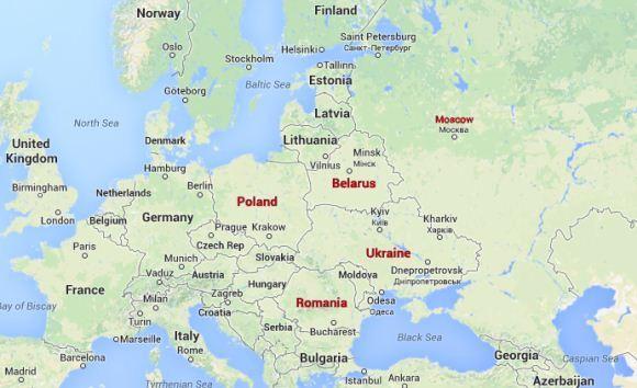 Peta Rusia, Belarus, Ukraina, Polandia dan Rumania