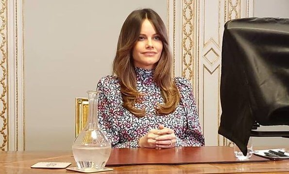 Princess Sofia wore a new wild-blossom blouse from By Malina. Princess Sofia wore a Penny blouse wild-blossom print blouse from By Malina