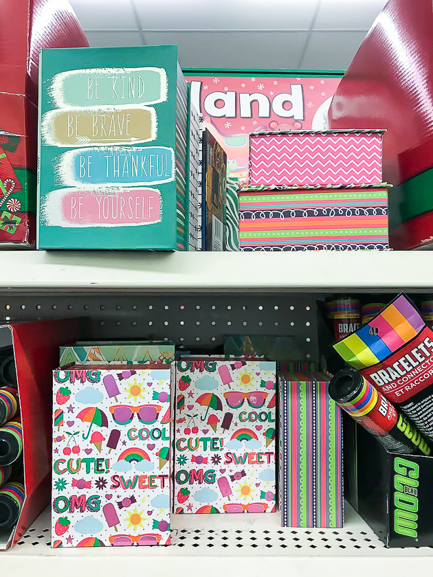 Dollar Tree cardboard storage boxes