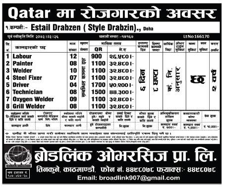 Free Visa Free Ticket, Jobs For Nepali In Qatar, Salary -Rs.50,000/