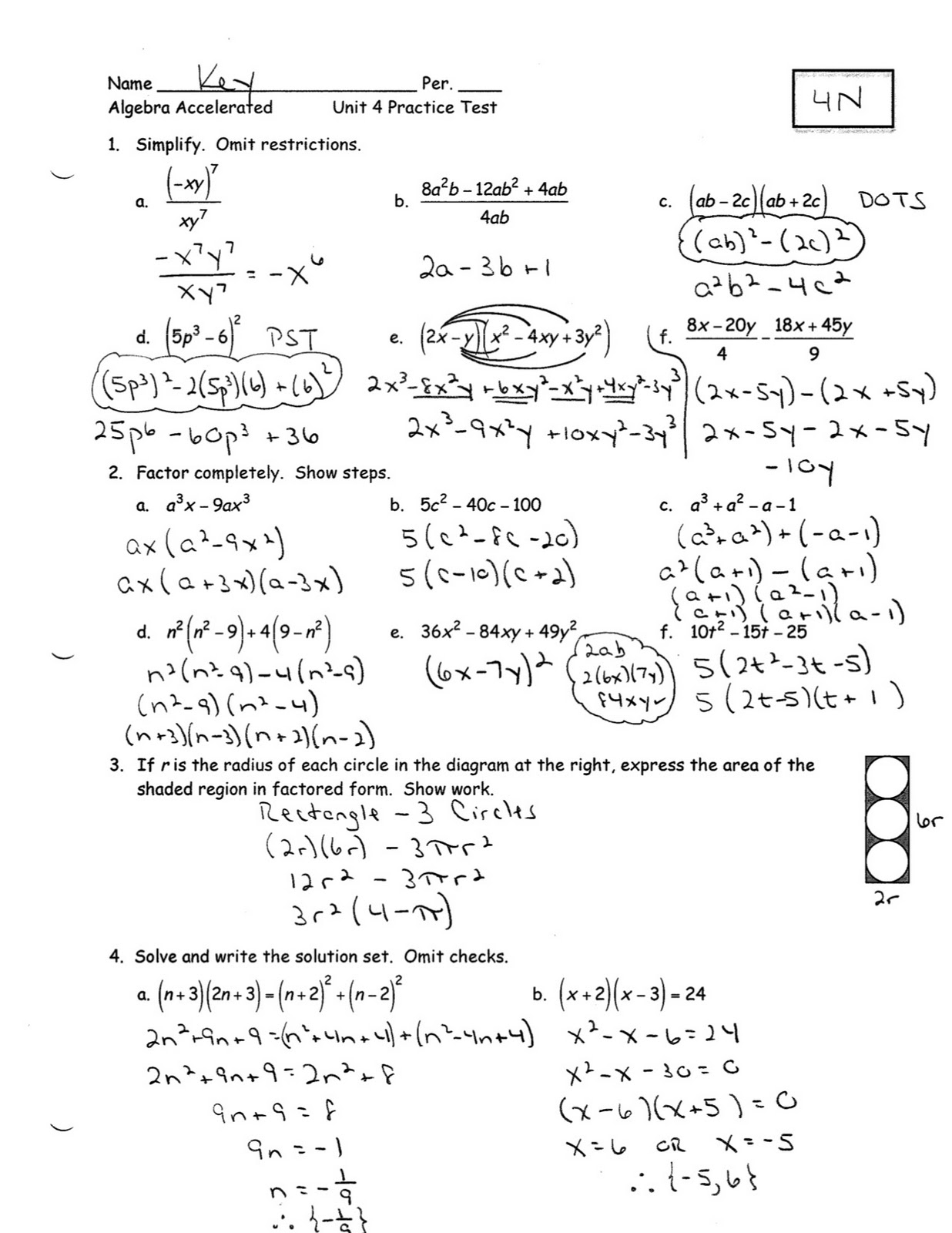 Algebra 1 Unit 4 Test Linear Equations Answers