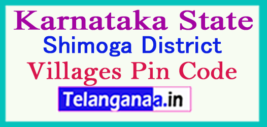 Shimoga District Pin Codes in Karnataka State