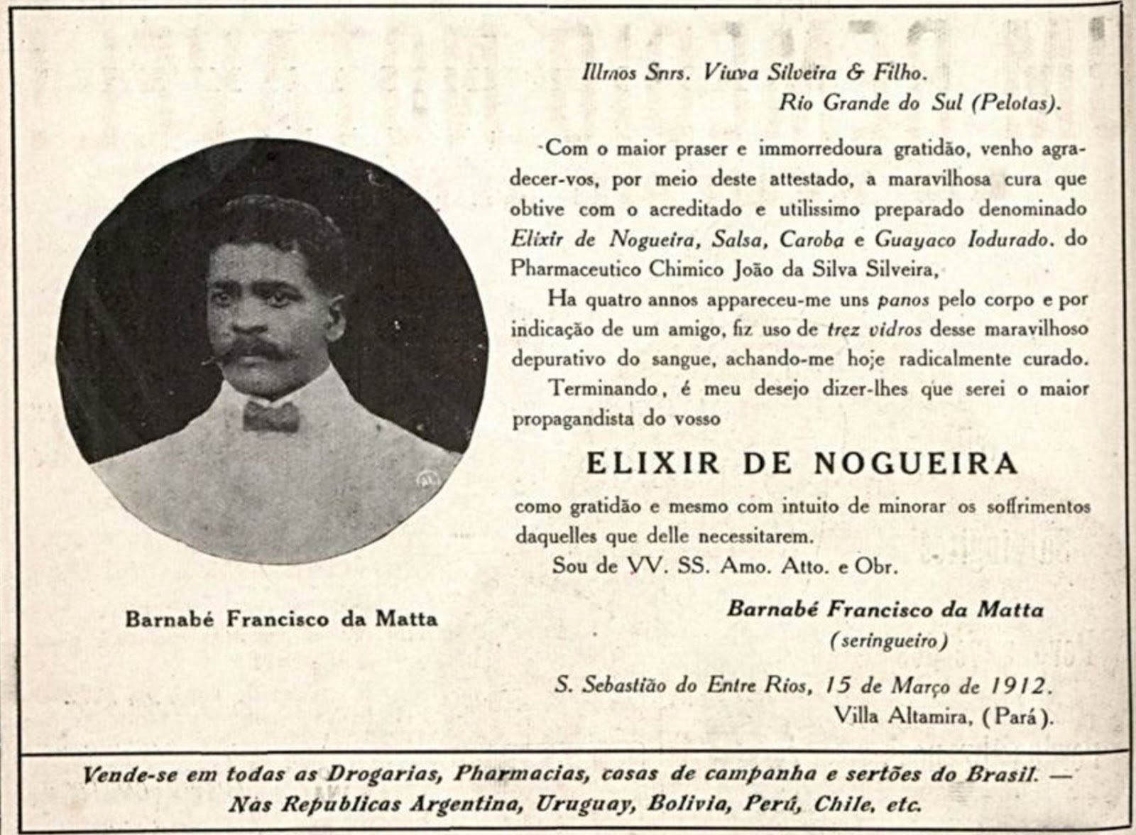 Propaganda antiga do Elixir de Nogueira com testemunhal de restabelecimento de saúde em 1916