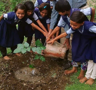 पर्यावरण दिनी मुली झाडे लावताना