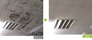 カビ汚れのスーパーマーケット天井にG-Ecoシリーズ環境対応型洗浄剤カビ・ヤニ使用