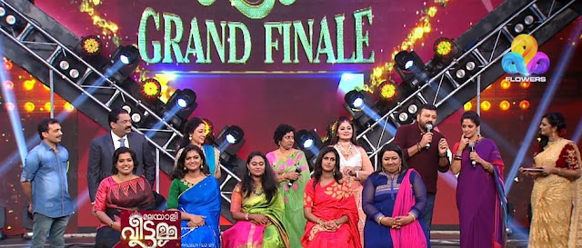Finalists of Malayali Veettamma with judges and guests during the grand finale on Flowers TV