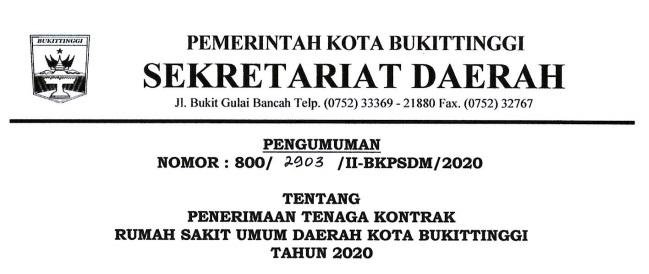 Lowongan Kerja RSUD Bukittinggi Terbaru Tahun 2020
