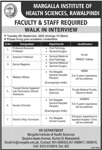 Margalla-Institute-of-Health-Sciences-Rawalpindi-Jobs Sept 2020
