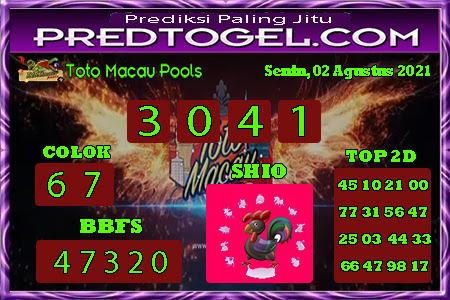 Pred Macau Senin 02 Agustus 2021