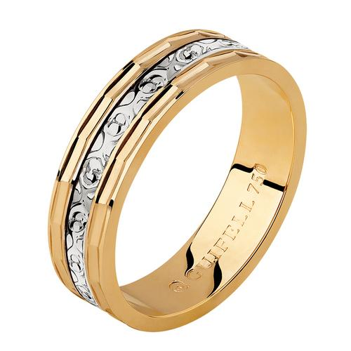 Aliança de casamento em ouro 18k 750 quadrada e trabalhada