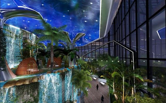 Thiết kế độc đáo của khu vườn nhiệt đới trên cao tại dự án Sunshine Ks Finance Empire Ciputra Hà Nội