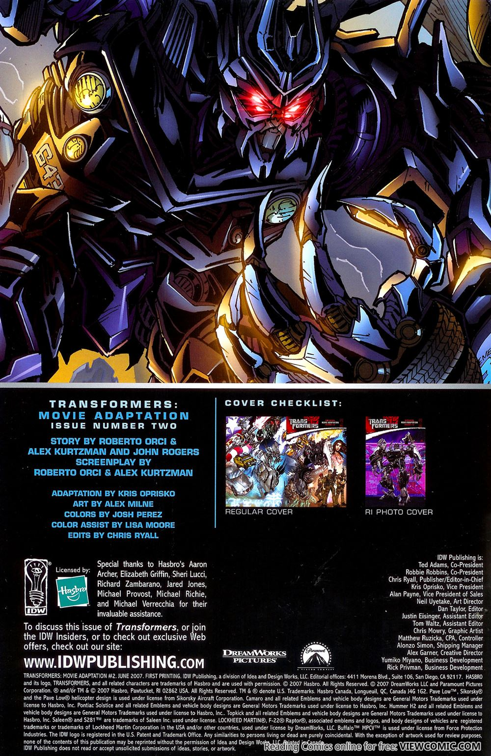 Transformers – Movie Adaptation 02 (of 4) (2007) | Viewcomic