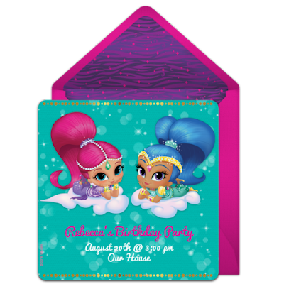 Shimmer and Shine online invitations