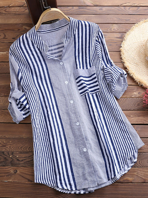 Tachibana Patchwork Brief Striped Long Sleeve Blouse