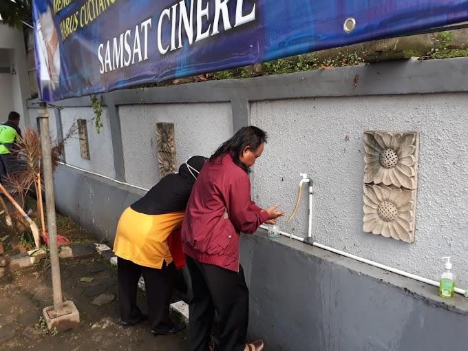 Antisipasi Corona, Pengunjung Samsat Cinere Wajib Cuci Tangan