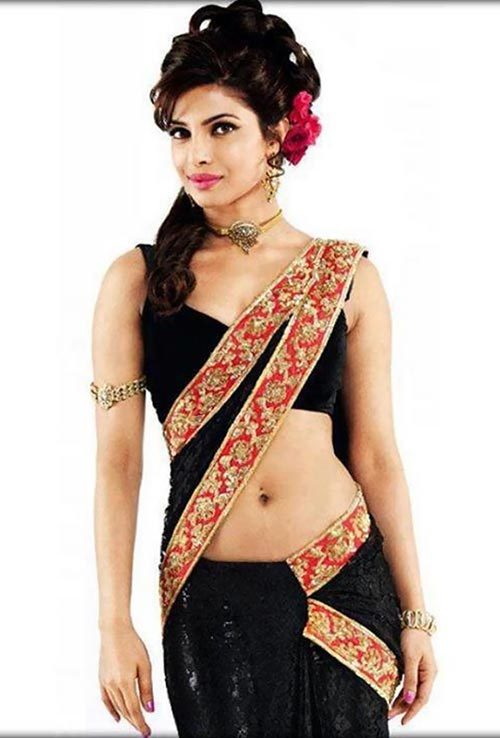 priyanka chopra navel in black low waist saree