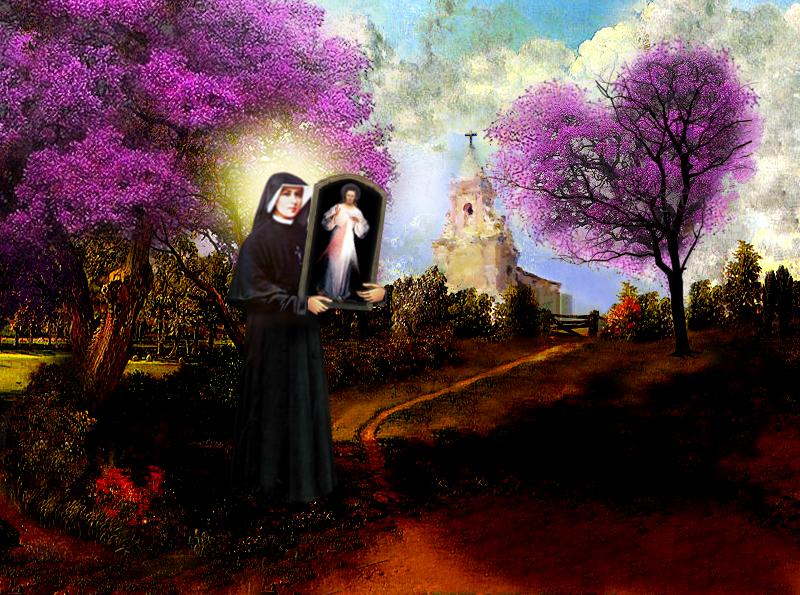 paisaje arbol mora con cuadro de jesus misericorida