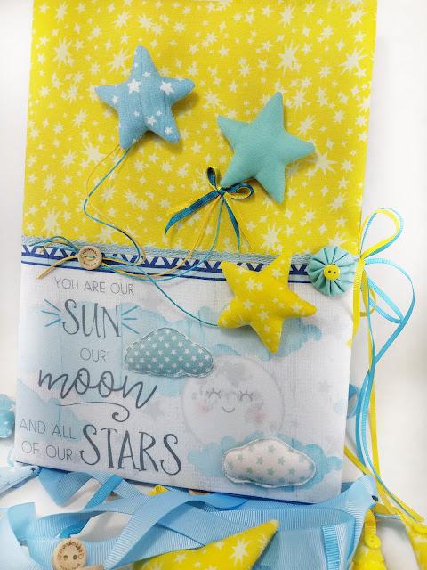 Χειροποίητο βιβλίο ευχών βάπτισης με θέμα το αστέρι.