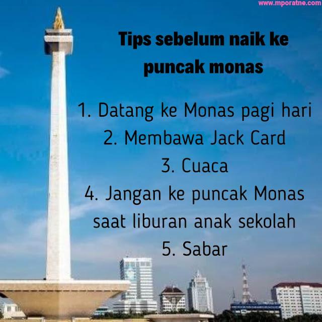 Tips sebelum naik ke monas