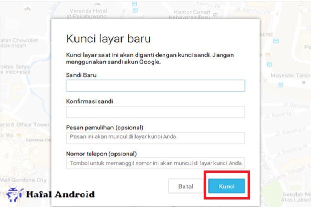 Tekan Kunci di Android Device Manager Untuk Mengganti Kunci