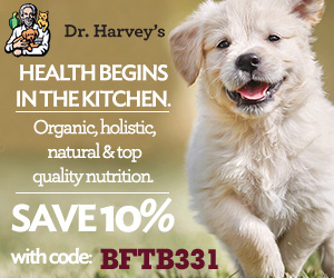 Dr. Harvey's ambassador badge with a cute puppy and 10% discount code
