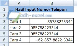 cara input nomor telepon di excel