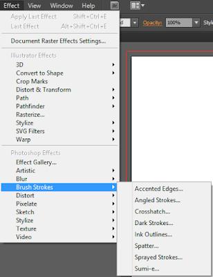 Nhóm lệnh Brush Strockes trong menu Effect của Illustrator