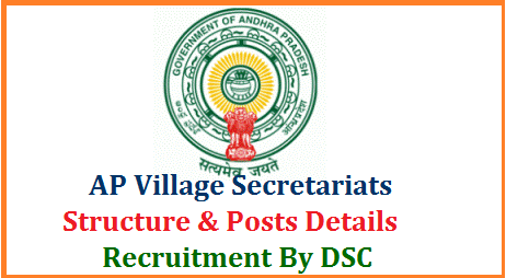 Establishment of Andhra Pradesh Village Secretariats and Structure of the Grama Sachivalayam Posts Job Charts released by Govt of Andhra Pradesh. District Selection Committee AP DSC will take up the Recruitment Process for the posts of arising vacancies after establishing the Village Secretariats as per the Norms mentioned here under Hon'ble Chief Minister of Andhra Pradesh Sri YS Jagan on 30.05.2019 has announced that the Government would establish a system of Village Secretariats for strengthening service delivery system at grass root level by 2nd-October,2019. This system is to ensure corruption free and leak proof implementation of Government programs /Schemes. An exercise has been done to identify the locations to establish Village Secretariates ap-village-secretariats-structure-posts-job-charts-dsc-recruitment