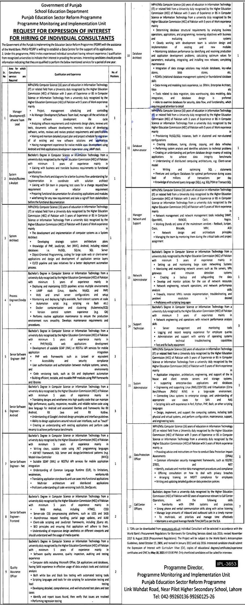 School Education Department Punjab  PESRP Latest Government Jobs April 2021