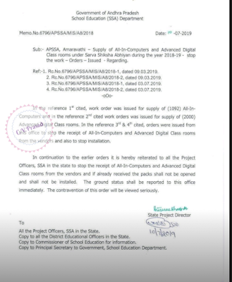 Supply of All-In-Computers and Advanced Digital Class rooms under Sarva Shiksha Abhiyan during the year 2018-19 - stop the work — Orders — Issued