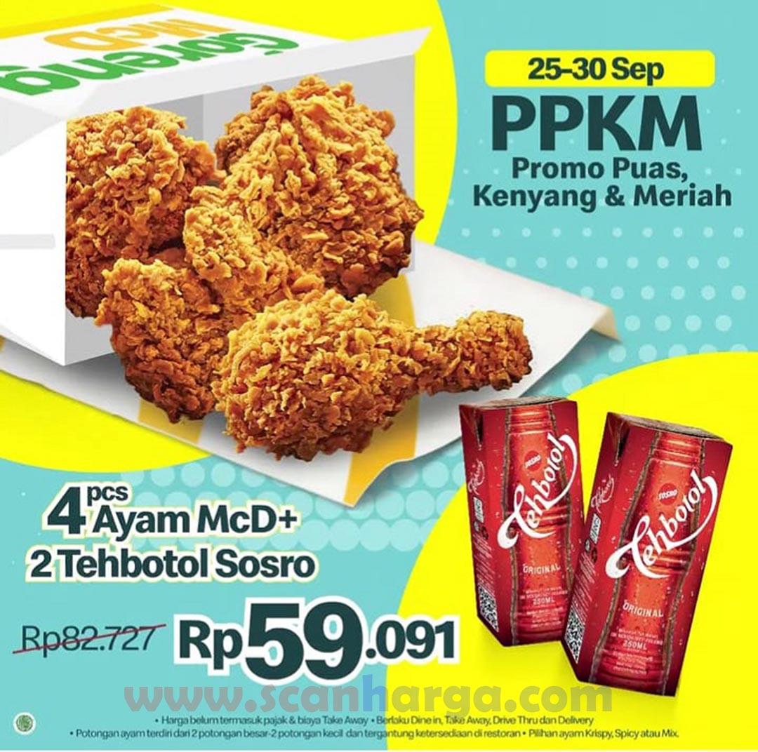 Promo McDonalds 25-30 September 2021! Paket Ayam McD + 2 Tehbotol Sosro Rp.59.091 aja