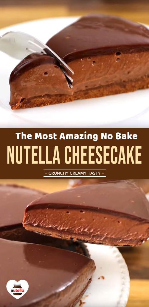 Easy No Bake Nutella Cheesecake #chocolatecake