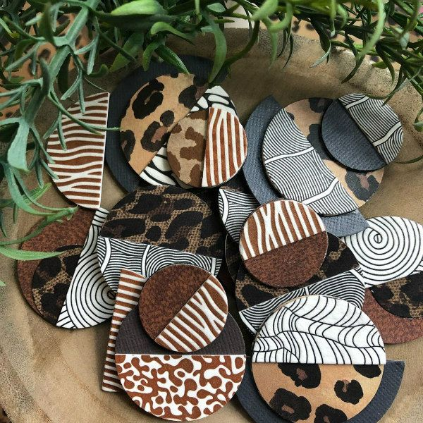animal print letterpress paper earring components awaiting assembly
