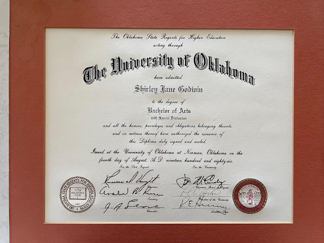 Shirley Godwin's Bachelor's Degree Diploma