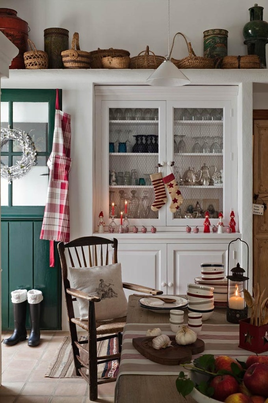 Kitchen Decorated for the Holidays. Love the collection of baskets!